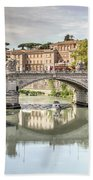 Bridge Over The River Tevere, Rome, Italy Bath Towel