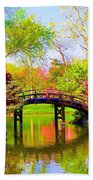 Bridge With Red Bushes In Spring Bath Towel