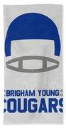 Brigham Young Cougars Vintage Football Art Bath Towel