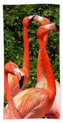 Bright Flamingos Bath Towel