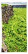 Bright Green Asbyrgi Canyon In Iceland Bath Towel