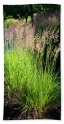 Bright Green Grass By The Pond Bath Towel