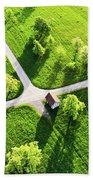 Bright Green Spring Meadow Aerial Photo Bath Towel