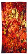 Bright Sunny Red Autumn Plants Bath Towel