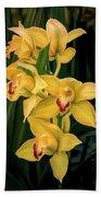 Bright Yellow Orchids Bath Sheet