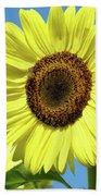Bright Yellow Sunflower Art Prints Blue Sky Baslee Troutman Bath Towel
