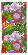 Brightly Colored Tropical Flowers And Ferns  Bath Towel