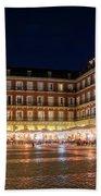 Brightly Lit Midnight - Plaza Mayor In Madrid Spain Bath Towel