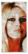 Brigitte Bardot By Mary Bassett Bath Towel