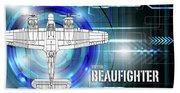 Bristol Beaufighter Blueprint Bath Towel