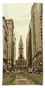 Broad Street Facing Philadelphia City Hall In Sepia Bath Towel