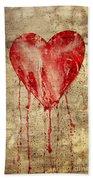 Broken And Bleeding Heart On The Wall Bath Towel