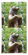 Bronze Statue Sculpture Of Bear Clapping Fineart Photography From Newyork Museum Usa Fineartamerica Bath Towel