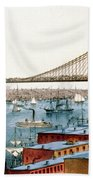Brooklyn Bridge, 1872 Bath Towel