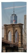 Brooklyn Bridge And One World Trade Center In New York City  Bath Towel