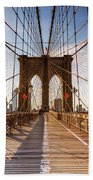 Brooklyn Bridge At Sunset, New York, Usa Bath Towel