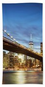 Brooklyn Bridge Panoramic At Night, New York, Usa Bath Towel