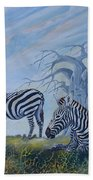 Browsing Zebras Bath Towel