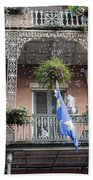 Bubbles Blow From An Ornate Balcony In New Orleans At Mardi Gras Bath Towel