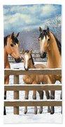 Buckskin Quarter Horses In Snow Bath Sheet by Crista Forest