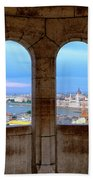 Budapest Parliament From The Fishermans Bastion Bath Towel