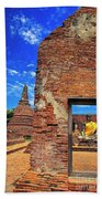 Buddha Doorway At Wat Worachetha Ram In Ayutthaya, Thailand Bath Towel