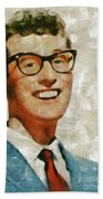 Buddy Holly By Mary Bassett Bath Towel