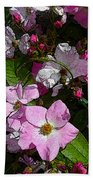 Buds And Petals- Pink Roses- Rose Bush- Floral Art Bath Towel