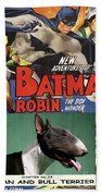 Bull Terrier Art Canvas Print - Batman Movie Poster Bath Towel
