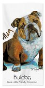 Bulldog Pop Art Bath Towel