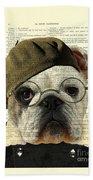 Bulldog Portrait, Animals In Clothes Bath Towel