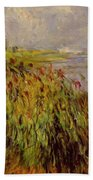 Bulrushes On The Banks Of The Seine 1874 Bath Towel