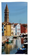 Burano An Island Of Multi Colored Homes On Canals North Of Venice Italy Bath Towel
