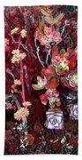 Burgundy Succulents. Multi Color Beauty Bath Towel