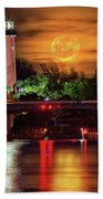 Burning Moon Rising Over Jupiter Lighthouse Bath Towel