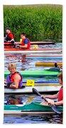 Burton Canoe Race At The Start Bath Towel