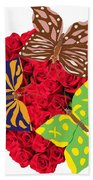 Butterflies On Roses Bath Towel