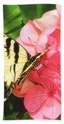 Butterfly And The Geranium Bath Towel