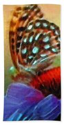 Butterfly On A Flower Bath Towel