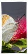 Butterfly On Magenta Flower Bath Towel