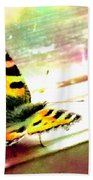 Butterfly On The Window Frame Watercolor Bath Towel