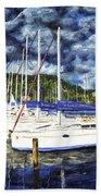 Bvi Sailboats Painting Bath Towel