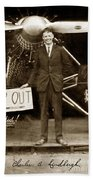 Charles A. Lindbergh And Spirit Of St. Louis 1927 Bath Towel