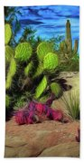 Cacti And Rock Bath Towel