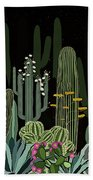 Cactus Garden At Night Bath Towel