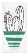 Cactus In A Green Pot- Art By Linda Woods Hand Towel by Linda Woods