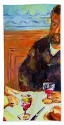 Cafe  Homage  De Pierre Auguste Bath Towel