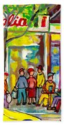 Caffe Italia And Milano Charcuterie Montreal Watercolor Streetscenes Little Italy Paintings Cspandau Bath Towel