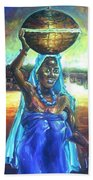 Calabash Lady In Blue Hand Towel