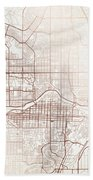 Calgary Street Map Colorful Copper Modern Minimalist Bath Towel
